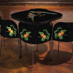 Gary Carsley: Pietre Dure; FUSION Table and Chairs, The Paradise Parrot., 2015, Lambda monoprint, resin, Ikea FUSION table and chairs, 30 x 35.5 x 35.5 inches, 76 x 90 x 90 cm