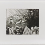 """Martin Ziegelmüller: Patriarchenträume, 1990-1995, (""""aus dem Hexenzyklus - die Dominikaner nehmen sich der Hexen an""""), Radierung, Kaltnadel, Roulette, Foto: Alexander Jaquemet"""