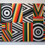 Rico Gatson: Untitled (Target, Ripples and Zig Zags), 2016, acrylic paint and spray paint on wood, 48 x 78 x 1.5 inches