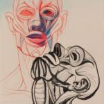 Max von Moos: Ohne Titel, 1956, Tusche auf Papier, 42 x 30 cm, Privatbesitz Luzern, © ProLitteris, Zürich