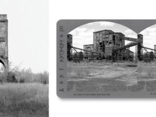 Jeff Brouws: Coaling Tower #16, 2013, Stereograph #155; Huber Breaker & Colliery complex, Ashely, Penna., 2015 (left to right)