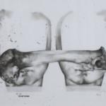 Sara Abbasian: Human Communications Series, 2010, Pencil on card box, 35 x 50 cm